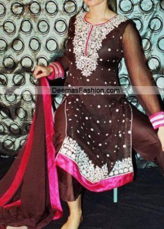 Pakistani Designer Dress - Brown Shocking Pink Formal Wear