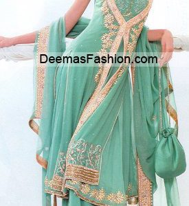 Pakistani Bridal Wear Fashion - Sea Green Sharara
