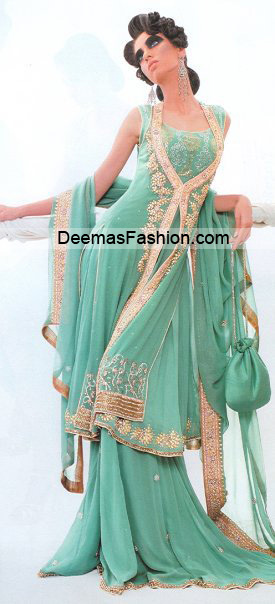 26dfe5615b Pakistani Bridal Wear Fashion - Sea Green Sharara - Latest Designer ...