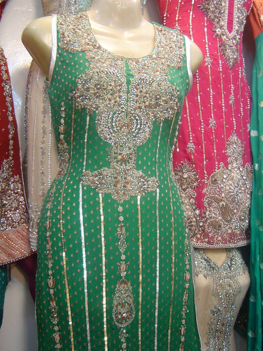 Latest Pakistani Bridal Collection- Shining Green Dress
