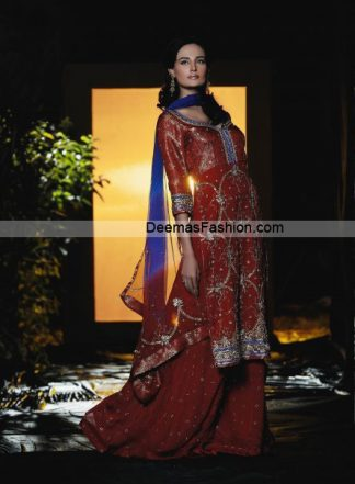 Latest Bridal Wear Dress - Deep Red Blue Sharara