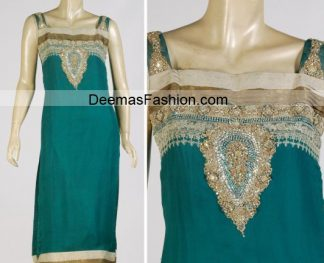 Pakistani Party Wear - Turquoise Green Dress