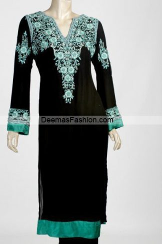 Latest Pakistani Casual Wear - Black Sea Green Dress