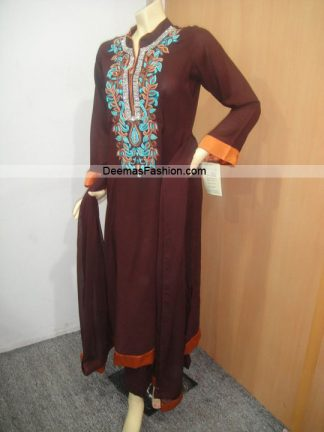 Latest Pakistani Casual Wear Fashion Dark Brown Embroidered Dress