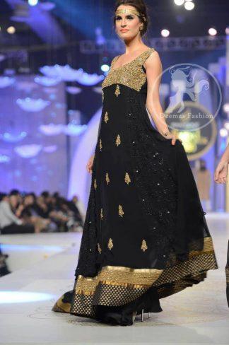 Black Chiffon Pishwas With Embellished Bodice And Churidar