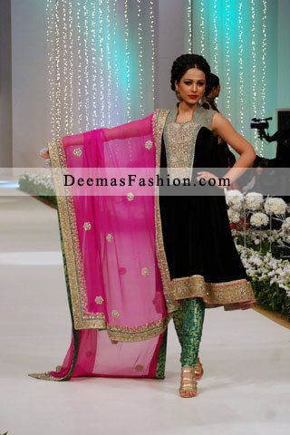 d3686933af Black Shocking Pink Formal Wear Kameez Churidaar - Latest Designer ...