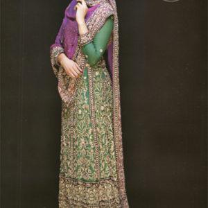 Latest Pakistani Bottle Green Bridal Maxi with Purple Dupatta