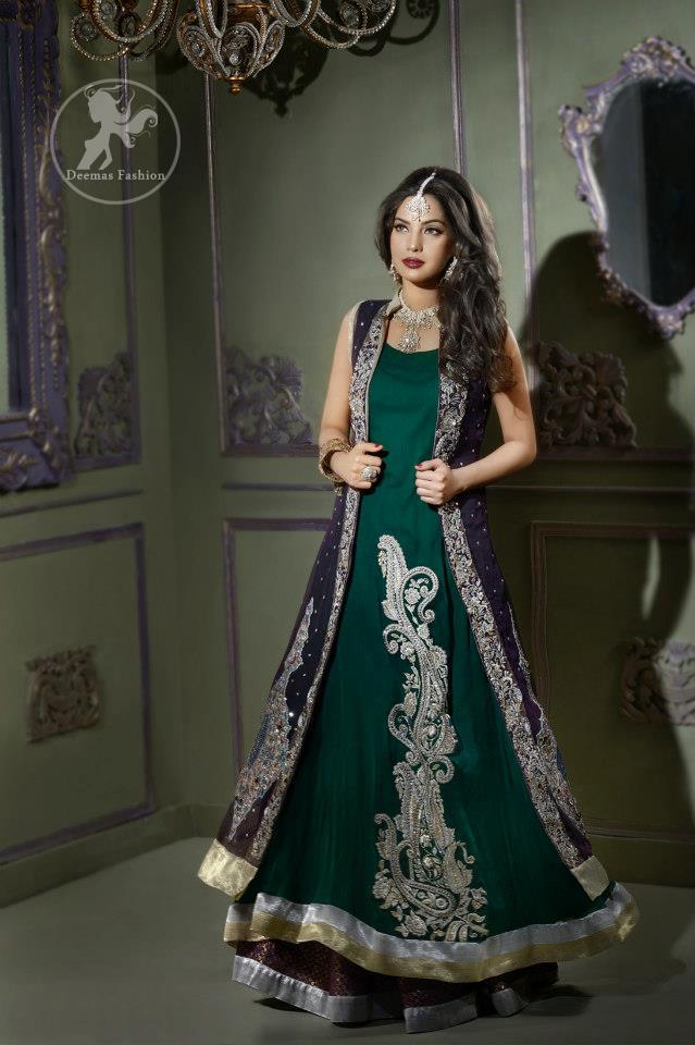 Bottle Green Front Open Gown Style Long Dress - Latest Designer ...