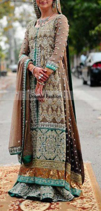 Bridal Collection Light Brown Long Shirt Sharara