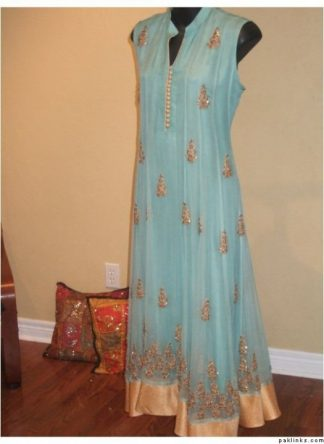 Buy Pakistani Clothes - Sky Blue Aline Anarkali Casual Wear