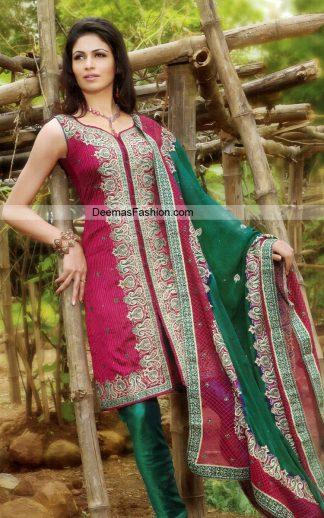 Latest Casual Wear Shalwar kameez - Maroonish Red Bottle Green