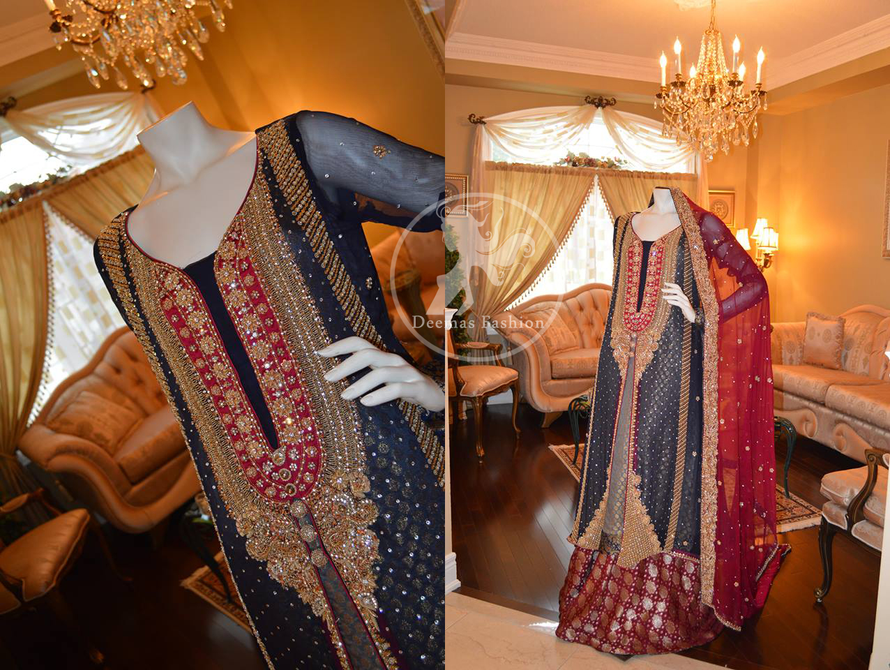 Dark Grey Front Open Gown Deep Red Lehnga and Dupatta