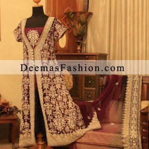 Latest Wedding Clothing Dark Maroon Bridal Front Open Dress