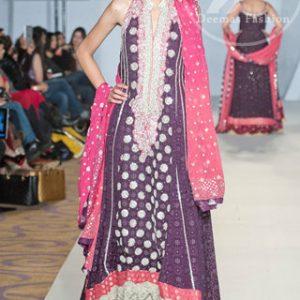 Dark Purple Shocking Pink Heavily Embellished Neckline Pishwas