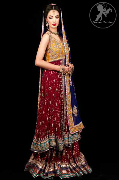 Deep Red A-Line Front Open Frock Having Golden Bodice With Navy Blue Dupatta and Lehnga
