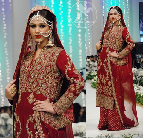 Deep Red Embroidered Shirt Dupatta with Banarsi Sharara