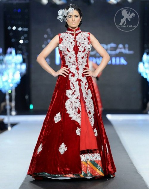Deep Red Velvet Full Length Front Open Embellished Gown and Skirt