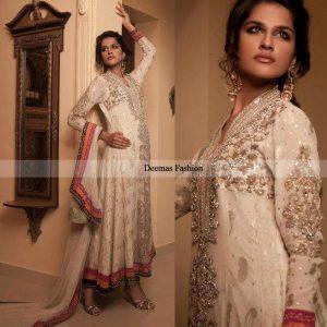 Designer Collection Elegant White Anarkali Frock Churidar