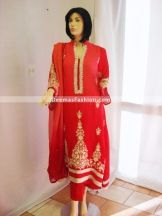 Designer Wear Red Embroidered Dress - Red Beige