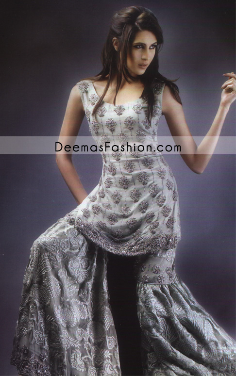 3318d6b521f2 Designers Bridal Dress - Silver Grey Gharara - Latest Designer ...