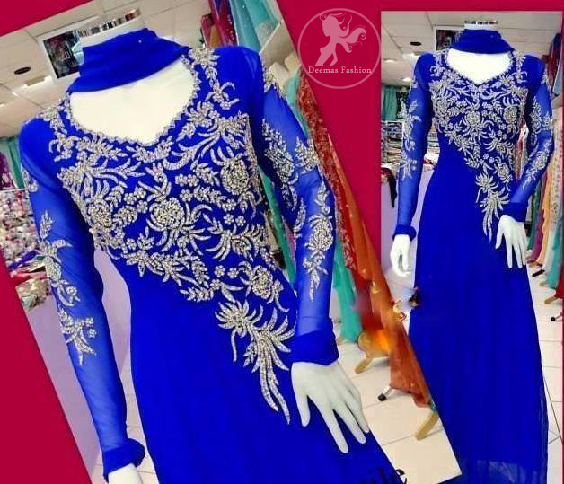 Electric Blue A-line Frock & Churidar with Silver Embellishment