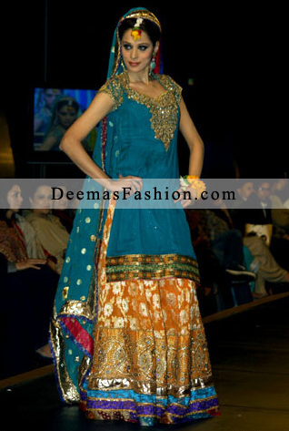 Ferozi Rust Colourful Bridal Mehndi Wear Lehnga