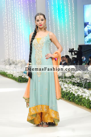Latest Ferozi Yellow Mehndi Wear Bridal Dress