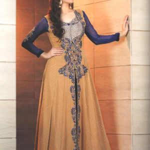 Golden Brown and Royal Blue Front Open Gown