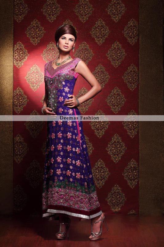 Gorgeous Latest Bridal Collection 2016 Blue Aline Dress