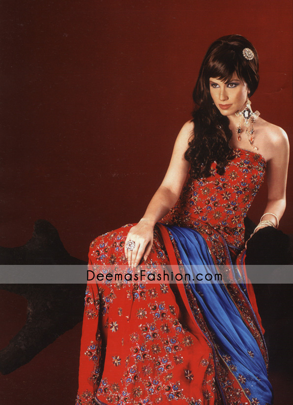 Indian Pakistani Bridal Wear – Red Blue Lehnga