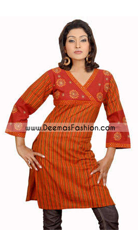 Ladies-Designer-Orange-Kurti-