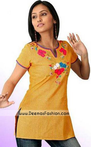Ladies Dress Golden Yellow Tunic Kurti