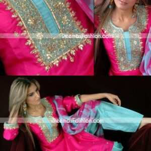 Ladies Fashion - Shocking Pink & Ferozi Shalwar Kameez Dress