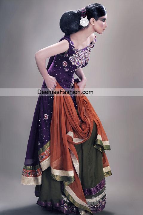 Larest Bridal Dress - Purple Mehndi Green Shrara
