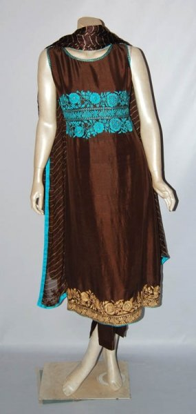 Latest Pakistani A-Line Frock Fashion - Dark Brown Dress