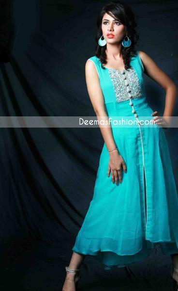 Pakistani Casual Wear - Ferozi A-Line Dress