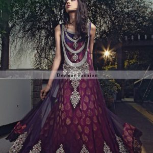 Latest Collection 2012 Pink Purple Anarkali Frock
