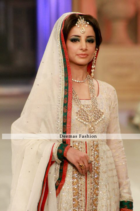 Latest Designer Collection 2013 Ivory White Front Bridal Wear Open Anarkali