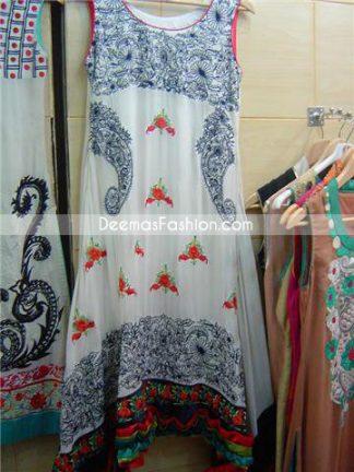 Pakistani Designer Dress - Black White Casual Wear