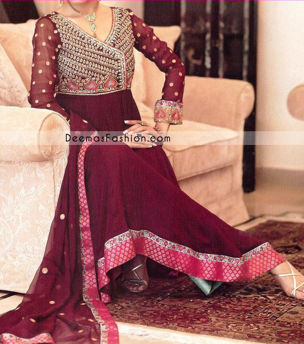 Latest Fashion - Maroon Anarkali Angrakha Style Outfit