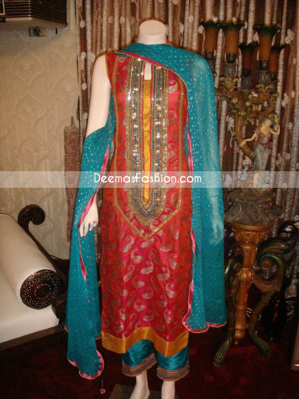 Latest Formal Wear - Red Turquoise Green Dress
