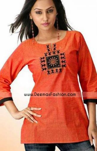 Ladies Kurta Style – Orange Designer Kurta Dress