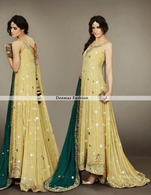 Latest Bridal Mehndi Wear Yellow Back Trail Pishwas