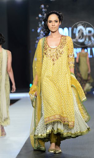 Latest Mehndi Collection Yellow & Off-White Double Layer Frock & Churidar