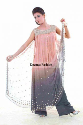 Latest Pakistani Anarkali Dress Peach Grey Frock