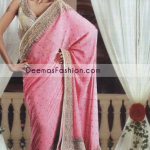 Latest Pakistani Bridal Dress – Pink Embroidered Saree