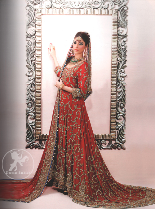 Deep Red Back Trail Bridal Pishwas - Latest Designer Dresses ...