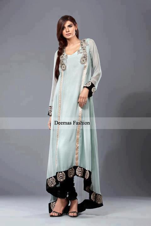 Latest Pakistani Fashion 2016 Grey Semi Formal Dress