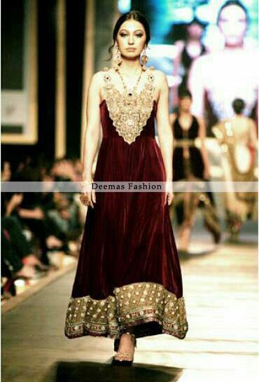 Formal Wear Dress Maroon A-line Frock - Latest Designer ...