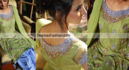 Latest Pakistani Formal Wear Green Blue Dress